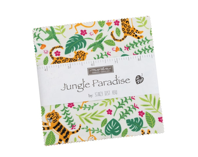"""Jungle Paradise Charm Pack (40 - 5"""" x 5"""" Squares) designed by Stacy Iest Hsu"""
