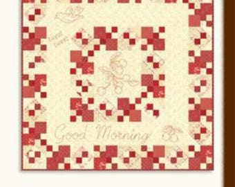 """Good Morning Quilt Kit designed by Minick & Simpson featuring Farmhouse Reds Fabric, quilt is 32"""" x 32"""""""