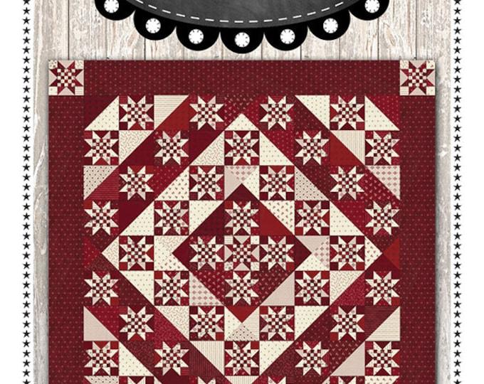 "Redwork Gathering, Fat Quarter 55 & Life To Go Pattern designed by Primitive Gatherings, 55"" x 55"""