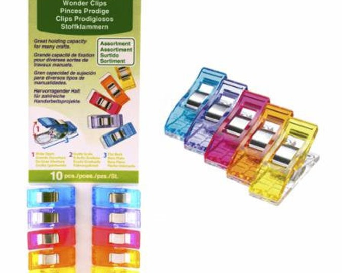 Wonder Clips by Clover, 10 ct, multi-colored, great holding capacity for layers of fabrics