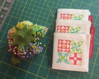 Quilt Block Needle Case by Moda Fabrics, 3 1/2 by 3 1/2 Square