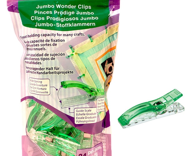 Jumbo Wonder Clips by Clover, 24ct, great holding capacity for layers of fabrics