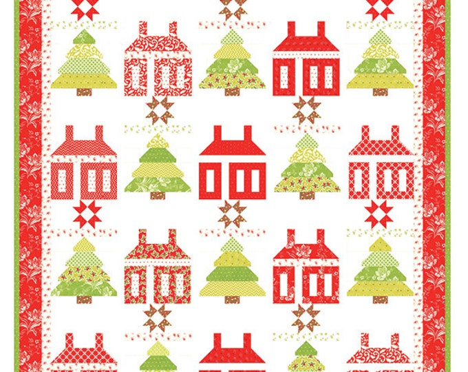 """Little House in the Woods Layer Cake friendly Pattern, 58"""" x 65"""" designed by Fig Tree & Co"""