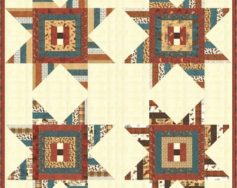 """Home on the Range Sheriff's Star Jelly Roll friendly Pattern, 2 sizes (76"""" x 80"""" throw & 76"""" x 96"""" Twin) designed by Coach House Designs"""