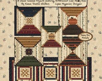 Bittersweet & Honey, Honey Bun friendly patterns, 12 seasonal projects, designed by Kansas Troubles Quilters