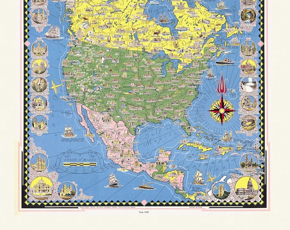 """Chase, A pictorial map of North America, 1945, map on heavy cotton canvas, 20 x 25"""" approx."""