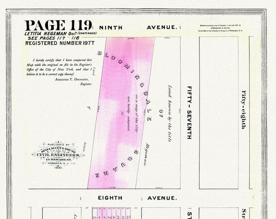 """NYC, Original Development (Cadestral) Map, Page 119, Leticia Hegeman, 1852, map on heavy cotton canvas, 20 x 25"""" approx."""