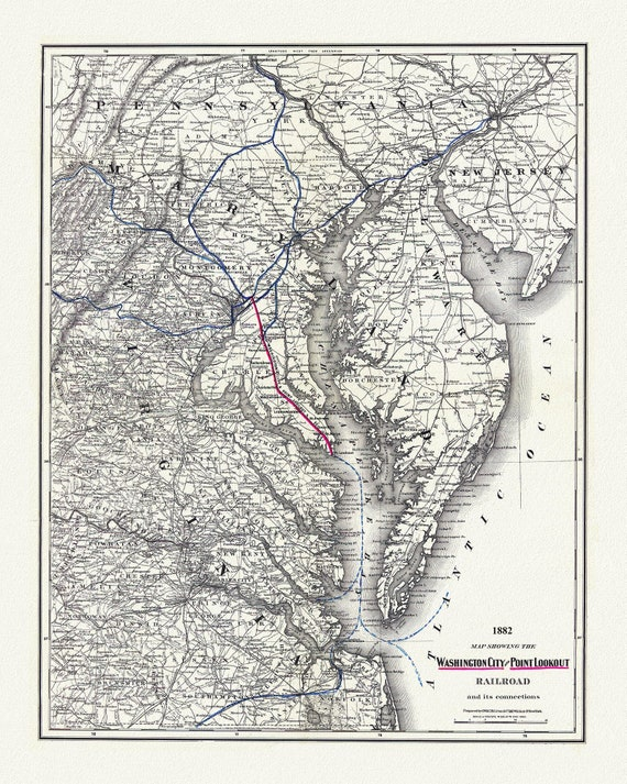 """Washington City and Point Lookout Railroad and its connections, 1882, map on heavy cotton canvas, 20x25"""" approx."""