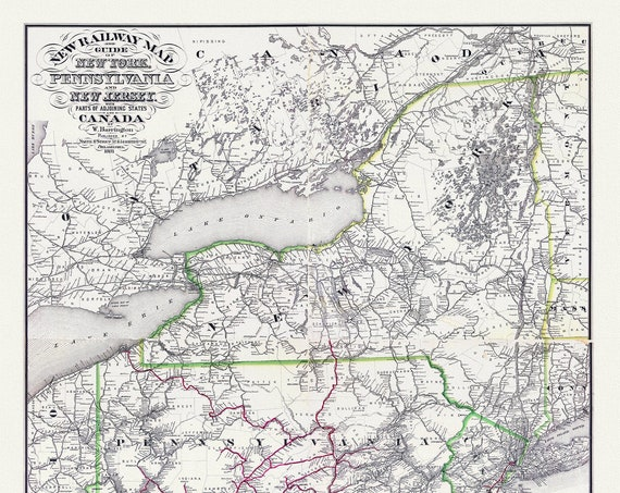 """Barrington, New railway map and guide of New York, Pennsylvania and New Jersey with parts of adjoining states and Canada,1881, canvas 20x25"""""""