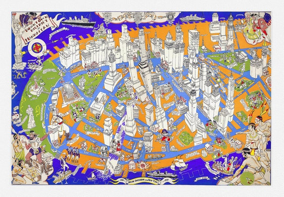 """Manhattan, Downtown District, auth. Zaidenberg, 1938, map on heavy cotton canvas, 20 x 25"""" approx."""