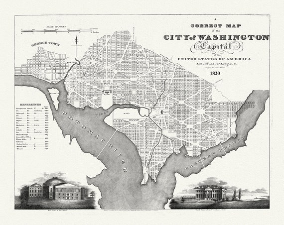 """City of Washington, Capital of the United States of America, A correct map, 1820on heavy cotton canvas, 20x25"""" approx."""