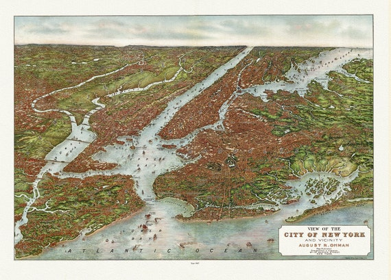 New York and vicinity, View, August Ohman, 1807