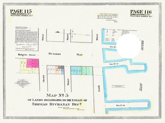 """NYC, Original Development (Cadestral) Map, Pages 115-116, Thomas Buchanan, 1809 , map on heavy cotton canvas, 20 x 25"""" approx."""