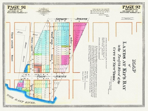 NYC, Original Development (Cadestral) Map, Pages 91-92 Kip's Bay, 1833 Part II