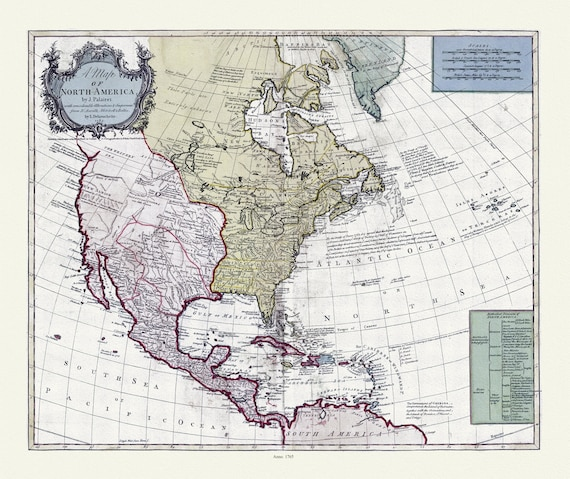"""Bowles et Delarochette, A map of North America, 1765, map on heavy cotton canvas, 22x27"""" approx"""