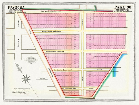 """NYC, Original Development (Cadestral) Map, Pages 95-96, Ann Rogers, 1834, map on heavy cotton canvas, 20 x 25"""" approx."""