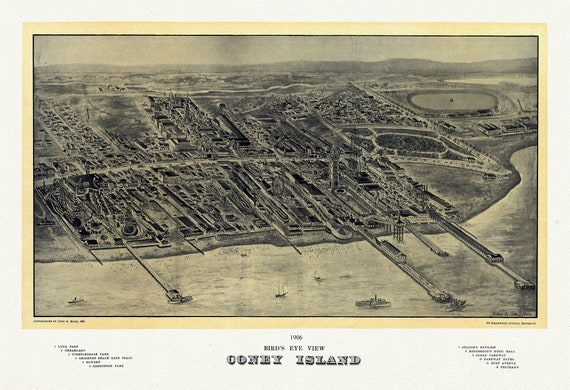 """NYC, Coney Island, Bird's eye view, 1906 , map on heavy cotton canvas, 20 x 25"""" approx."""