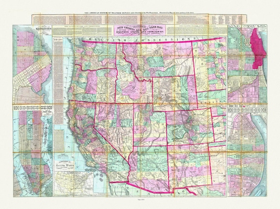 """Watson's New County and Railroad Map of the Western States and Territories, 1874, map on heavy cotton canvas, 20 x 25"""" approx."""