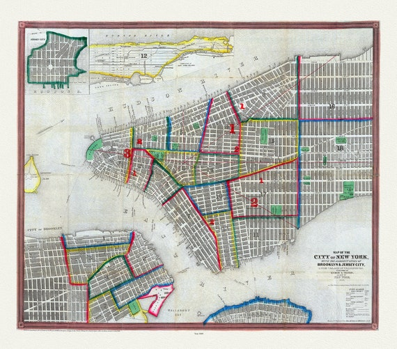 """Ensign & Thayer, Map Of The City Of New York, 1849, map on heavy cotton canvas, 20 x 25"""" approx."""