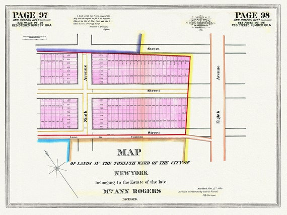 """NYC, Original Development (Cadestral) Map, Pages 97-98, Ann Rogers, 1834 Part II, map on heavy cotton canvas, 20 x 25"""" approx."""