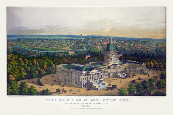 """Washington City from the new dome of the Capitol, looking west, 1856 , map on heavy cotton canvas, 20x25"""" approx."""