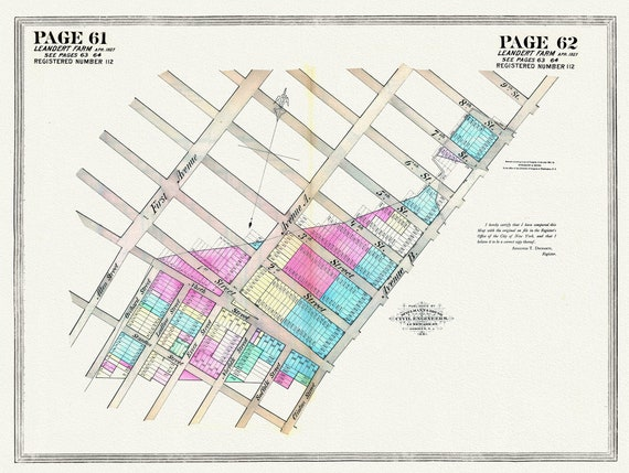 """NYC, Original Development (Cadestral) Map, Pages 61-62, Leandert Farm, 1827 , map on heavy cotton canvas, 20 x 25"""" approx."""