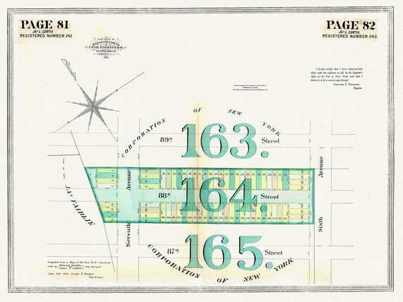 """NYC, Original Development (Cadestral) Map, Pages 81-82, J.L. Curtis, 1838 Part IV, map on heavy cotton canvas, 20 x 25"""" approx."""