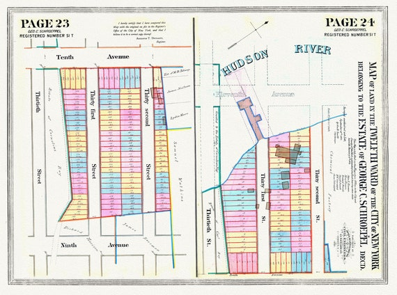 """NYC, Original Development (Cadestral) Map, Pages 23-24, 12th Ward, 1830 , map on heavy cotton canvas, 20 x 25"""" approx."""