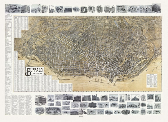 """Buffalo, Erie Co., N.Y., 1902 , map on heavy cotton canvas, 20 x 25"""" approx."""