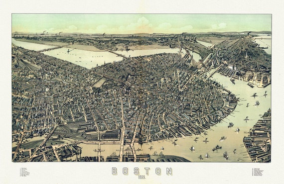 """Boston, A Panoramic Map, 1899 , on heavy cotton canvas, 20 x 25"""" approx."""