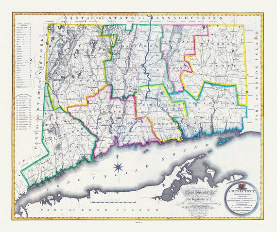 """Connecticut, from actual survey, Gillet, 1813 , map on heavy cotton canvas, 20x25"""" approx."""