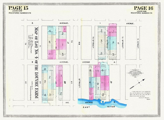 """NYC, Original Development (Cadestral) Map, Page 15-16 Lot 4 of the Louvre Farm, 1855, map on heavy cotton canvas, 20 x 25"""" approx."""