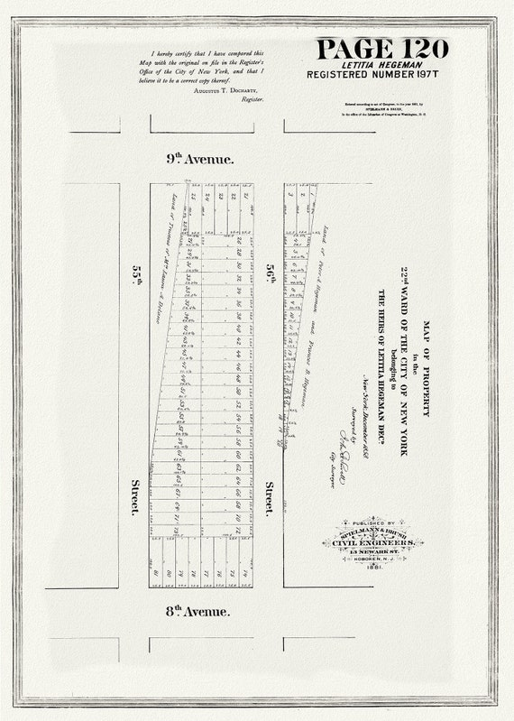 """NYC, Original Development (Cadestral) Map, Page 120, Leticia Hegeman, 1858 , map on heavy cotton canvas, 20 x 25"""" approx."""