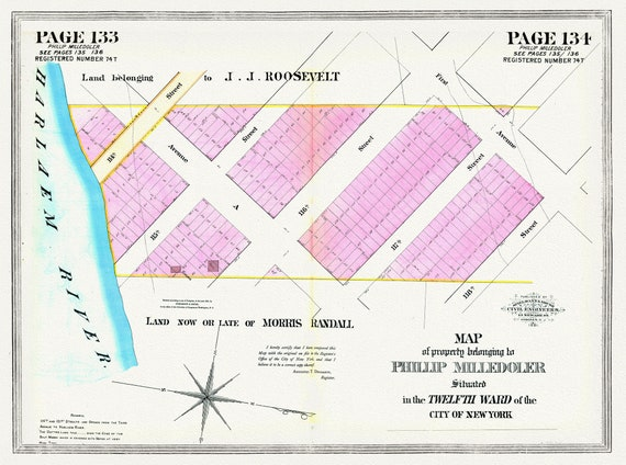 """NYC, Original Development (Cadestral) Map, Pages133-134, Milledoler, 1828, map on heavy cotton canvas, 20 x 25"""" approx."""