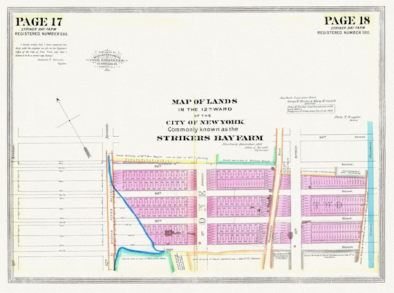 """NYC, Original Development (Cadestral) Map Pages 17-18, Stryker Farm, 1855 , map on heavy cotton canvas, 20 x 25"""" approx."""