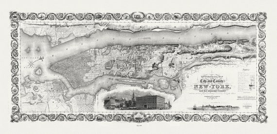 """Colton, City and County Of New York, 1836, map on heavy cotton canvas, 16 x 27"""" approx."""