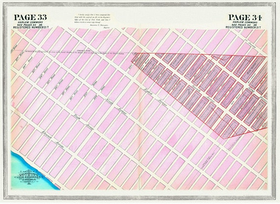 """NYC, Original Development (Cadestral) Map, Pages 33-34, Harlaem Commons, 1824 , map on heavy cotton canvas, 20 x 25"""" approx."""