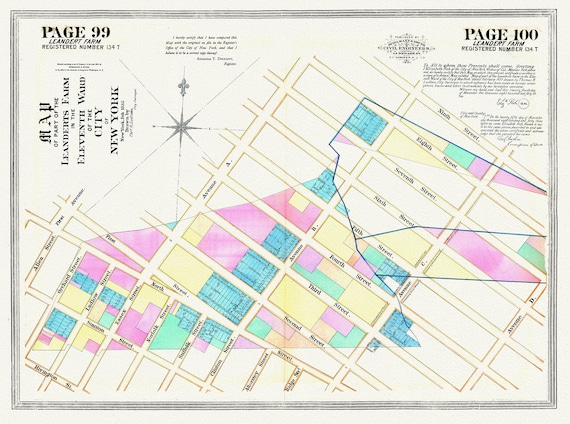 """NYC, Original Development (Cadestral) Map, Pages 99-100, Leandert Farm, 1832, map on heavy cotton canvas, 20 x 25"""" approx."""