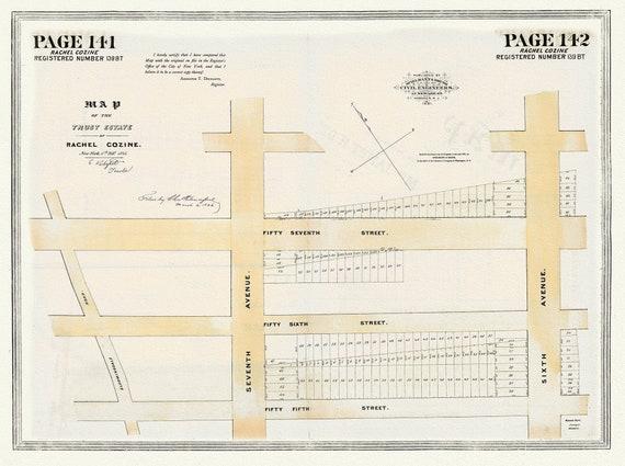 "NYC, Original Development (Cadestral) Map, Pages141-142, Rachel Cozine, 1846, map on heavy cotton canvas, 20 x 25"" approx."