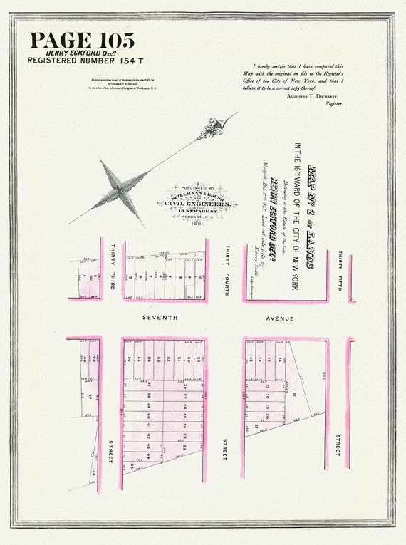"""NYC, Original Development (Cadestral) Map, Page 105, Henry Eckford, 1847, map on heavy cotton canvas, 20 x 25"""" approx."""