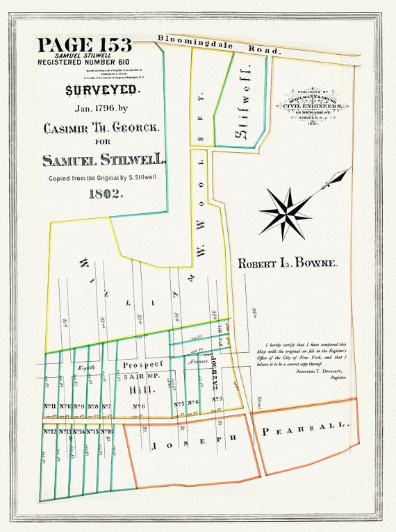 """NYC, Original Development (Cadestral) Map, Page 153, Stilwell, 1796 , map on heavy cotton canvas, 20 x 25"""" approx."""