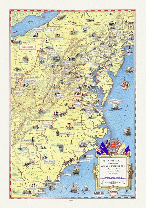 """George Washington, Principal events in the life of, 1932 , map on heavy cotton canvas, 20x25"""" approx."""