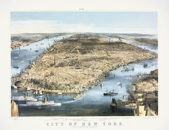 """City of New York  by C. Parsons, 1856, map on heavy cotton canvas, 20 x 25"""" approx."""
