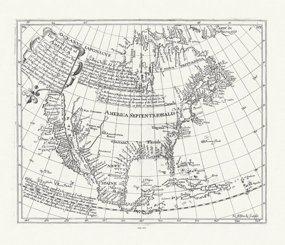 """Briggs, North America, 1625 , map on heavy cotton canvas, 20 x 25"""" approx."""