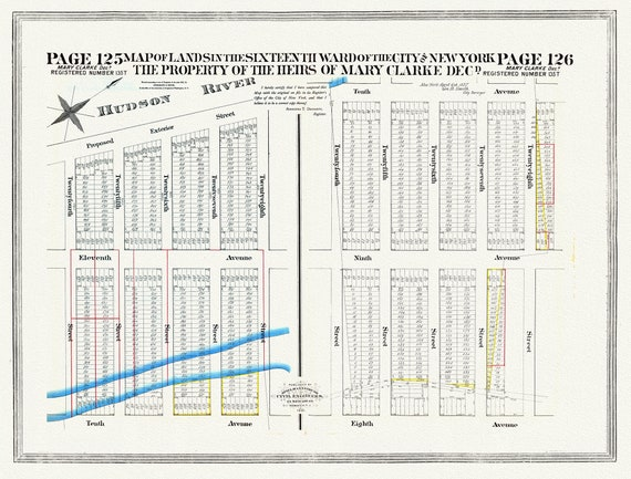 """NYC, Original Development (Cadestral) Map, Pages 125-126, Mary Clarke, 1837 , map on heavy cotton canvas, 20 x 25"""" approx."""