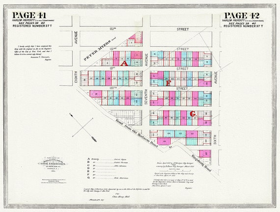 """NYC, Original Development (Cadestral) Map, Pages 41-42, Harlaem Property, 1872 Part II , map on heavy cotton canvas, 20 x 25"""" approx."""