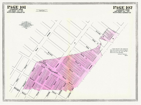"""NYC, Original Development (Cadestral) Map, Pages 101-102, Leandert Farm, 1832 Part II, map on heavy cotton canvas, 20 x 25"""" approx."""