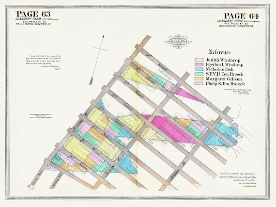 """NYC, Original Development (Cadestral) Map, Pages 63-64, Leandert Farm Part II, 1827 , map on heavy cotton canvas, 20 x 25"""" approx."""