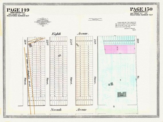 """NYC, Original Development (Cadestral) Map, Pages149-150, Eckford, 1873, map on heavy cotton canvas, 20 x 25"""" approx."""