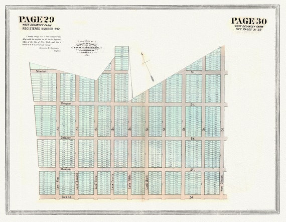 """NYC, Original Development (Cadestral) Map, Pages 29-30, West Delancey Farm, 1873 , map on heavy cotton canvas, 20 x 25"""" approx."""